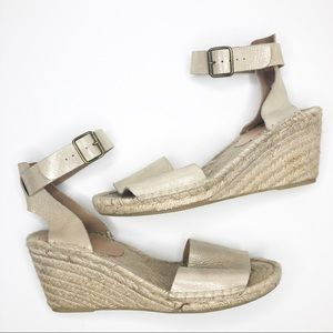 J.Crew Canvas Gold Leather Strap Espadrille Wedge